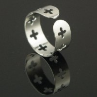 Retro Simple Design Hollow Cross Ring For Women