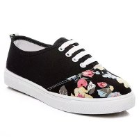Stylish Women's Canvas Shoes With Floral Print and Lace-Up Design