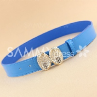 Sweet Bowknot Rhinestone Decorated Candy Color Waist Belt For Women