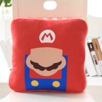 Stylish Mario Pattern 3 in 1 Pillow Hand-Warmer Blanket