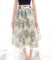Retro Print Voile Splicing Fashionable High Waisted A-Line Midi Skirt For Women