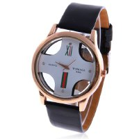 Chic WoMaGe A380 Cross Shaped White Dial Round Golden Case Leather Wrist Watch for Men - Black