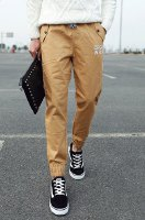 Lace-Up Letter Embroidered Zipper Design Beam Feet Nine Minutes of Pants For Men