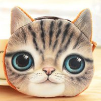 Cute Women's Coin Purse With Cat Face and Zipper Design