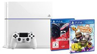 Sony PlayStation 4 500 GB weiss inkl. Little Big Planet 3 + Driveclub (PS 4 + DC + LBP)