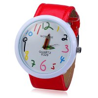 Womage 8329 Big Dial Quartz Watch with Pencil Pointer Funny Scale Leather Band for Men