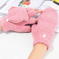 Pair of Chic Exposed Fingers Design Solid Color Downy Gloves For Women