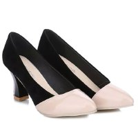 Stylish Style Women's Pumps With Chunky Heel and Splicing Design