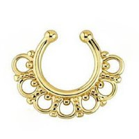 Trendy Solid Color U-Shape Hollow Out Fake Septum Nose Ring For Women