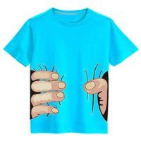 Stylish Round Neck Gesture Print Short Sleeve T-Shirt For Boy