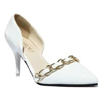 Stylish Women's Pumps With Solid Colour and Chain Design