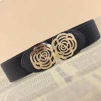 Characteristic Hollow Out Rose Design Belt Buckle Wide Elastic Belt For Women