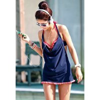 Ruffled Hem Three-Piece Divided Type Design Swimsuit With Halter For Women