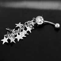 Chic Multi-Layered Star Pendant Faux Crystal Decorated Belly Button Ring For Women