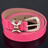 Chic Solid Color Alloy Pin Buckle Slender Belt For Women