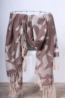 Schal graphisches Muster taupe