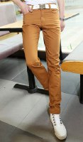 Zipper Fly Slimming Narrow Feet Solid Color Cotton Blends Pants For Men