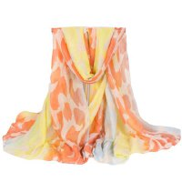 Stylish Iridescent Cloud and Leopard Pattern Voile Scarf For Women