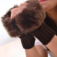 Pair of Stylish Faux Fur Edge Embellished Short Knitted Fingerless Gloves For Women