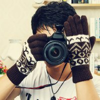 Pair of Sweet Multicolor Geometric Pattern Gloves For Men