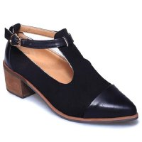 Retro Women's Pumps With Solid Colour and T-Strap Design