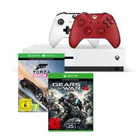 Xbox One S 500GB Konsole - Forza Horizon 3 Bundle + Gears of War 4 + Xbox Wireless Controller in Rot